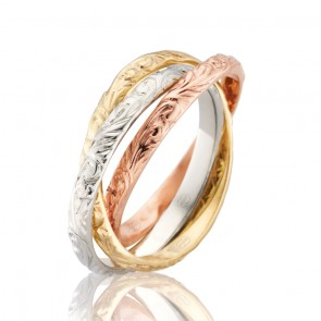 18K Engraved Russian Wedding Band