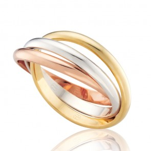 18k Tri-Gold High Dome Russian Wedding Ring