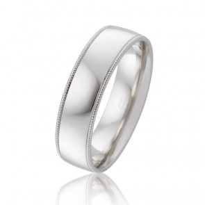 18k Mens Faceted Wedding Band