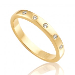 18k Ladies Diamond Wedding Ring - 0.10ct Total Diamond Weight