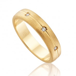 18k Faceted Diamond Set Wedding Band - 0.06ct Total Diamond Weight