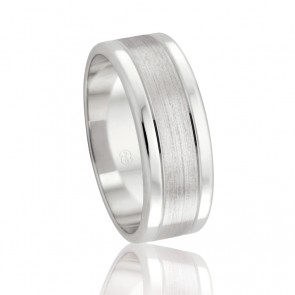 18k Mens Faceted Wedding Ring