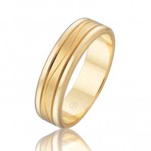 18k Faceted Wedding Band with Central Wave