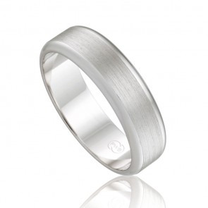 18k Mens Fine Grain Parallel Wedding Band