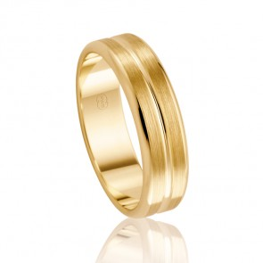 9k Mens Faceted Wedding Ring