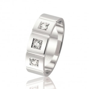 18k Diamond & Faceted Wedding Band - 0.15ct Total Diamond Weight