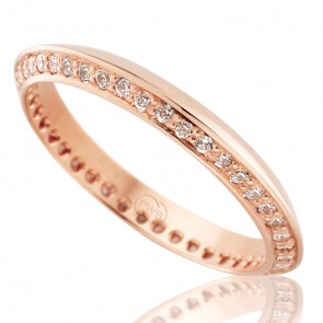 18k French Curve Diamond Ladies Wedding Ring - 0.41ct Total Diamond Weight