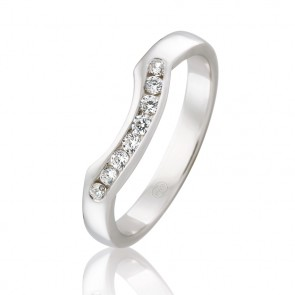 18kt Diamond Set Fitted Wedding Band - 0.16ct Total Dimaond Weight
