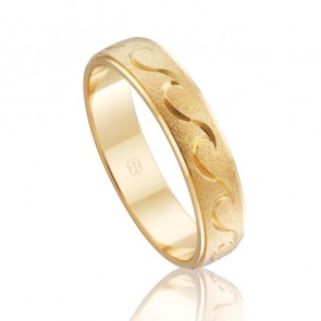 18k Mens Wave Pattern Wedding Band