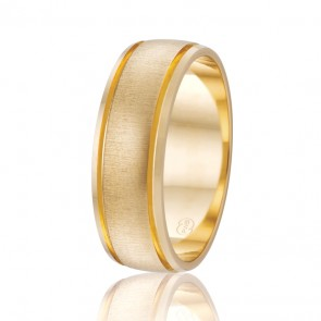 9k Mens Faceted Wedding Band