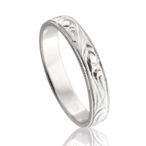 9k Ladies Engraved Wedding Ring