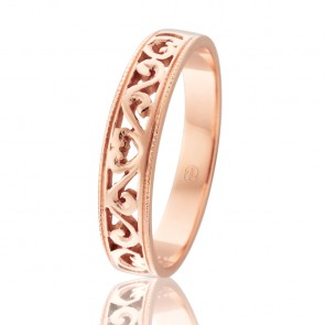 9kt Rose Gold Antique Filigree Band
