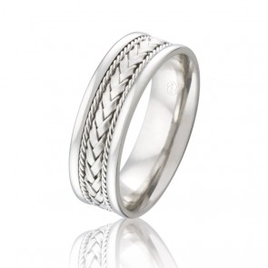 9k Mens Braid & Twist Wedding Ring