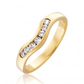 9k Diamond Fitted Wedding Band - 0.28ct Total Diamond Weight