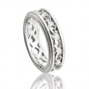 9KT Filigree Scroll Wedding Band