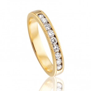9k Diamond Channel Set Wedding Band - 0.36ct Total Diamond Weight