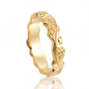 18kt Floral Antique Gold Band