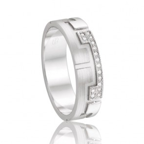 9k Diamond Wedding Band - 0.08ct Total Diamond Weight