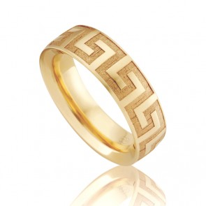 18k Orion Engraved Wedding Ring with Greek Key Design