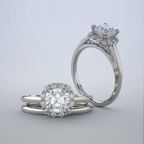 18k Halo Ring Setting | 0.75ct Cushion Cut