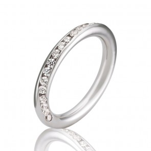 9k Diamond Set Torus Wedding Band - 0.40ct Total Diamond Weight