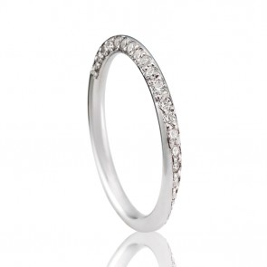 9k Diamond Set Torus Wedding Band - 0.25ct Total Diamond Weight